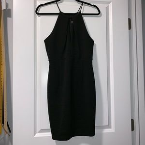 LIKE NEW black ribbed keyhole dress, size M